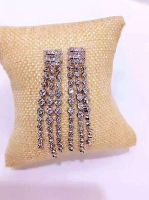 KE152系列經典方鑽造型小鑽流蘇新娘耳環/宴會耳環