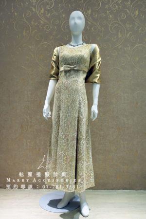 KO-0001系列金色彩線蕾絲高腰禮服媽媽禮服-晚宴禮服-新娘晚禮服