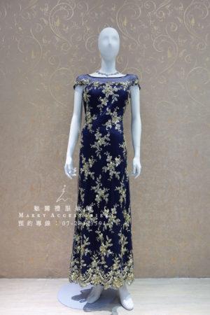 KO-0003系列金刺繡湛藍禮服媽媽禮服-晚宴禮服-新娘晚禮服