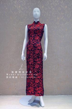 KO-0004系列-紅黑開衩改良式旗袍-媽媽禮服-晚宴禮服-新娘晚禮服