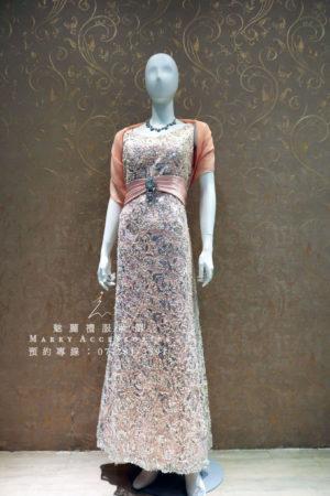 KO-0008系列粉色編繡蕾絲媽媽禮服-晚宴禮服-新娘晚禮服