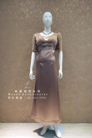 KO-0009系列奶茶色素雅修身媽媽禮服-晚宴禮服-新娘晚禮服