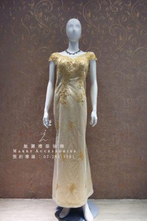 KO-0010系列高雅雙側金色刺繡媽媽禮服-晚宴禮服-新娘晚禮服