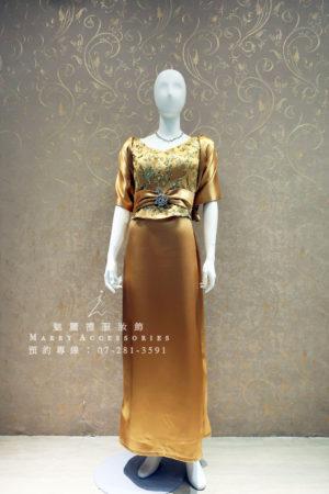 KO-0013系列華貴金色緞面修小腹媽媽禮服-晚宴禮服-新娘晚禮服