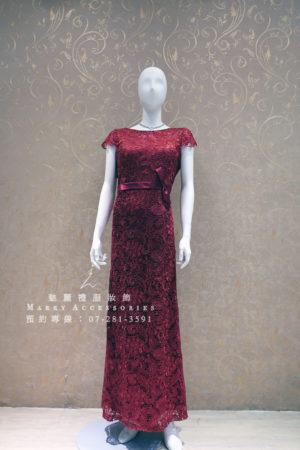 KO-0015系列紅色簍空蕾絲高雅媽媽禮服-晚宴禮服-新娘晚禮服