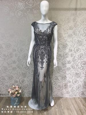 O110-14深V造型奢華魚尾紗裙珠飾現代優雅媽媽禮服-晚宴禮服-新娘晚禮服