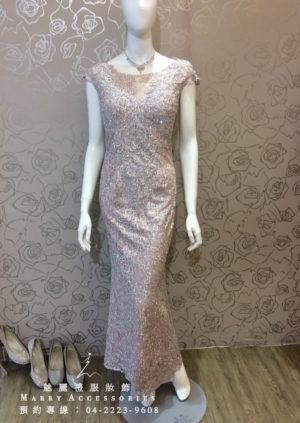 O111-03銀粉水鑽亮紗款媽媽禮服-晚宴禮服-新娘晚禮服