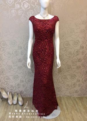 O111-05玫瑰紅華貴魚尾修身款媽媽禮服-晚宴禮服-新娘晚禮服