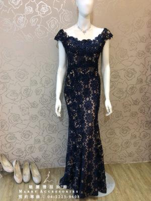 O113-14低調奢華玫瑰蕾絲超美裙襬深藍色魚尾媽媽禮服-晚宴禮服-新娘晚禮服
