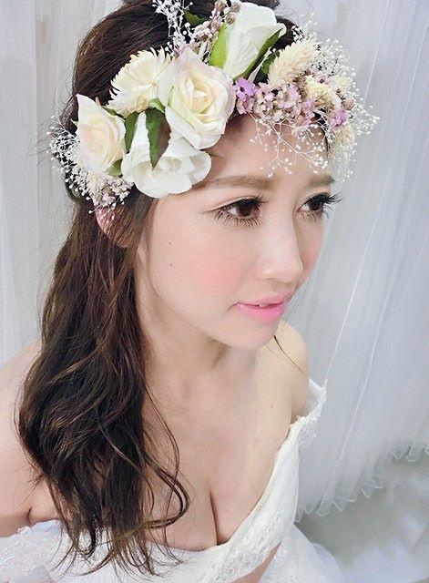 T1074華美絢爛新娘乾燥花花環/永生花頭飾/購買請洽客服