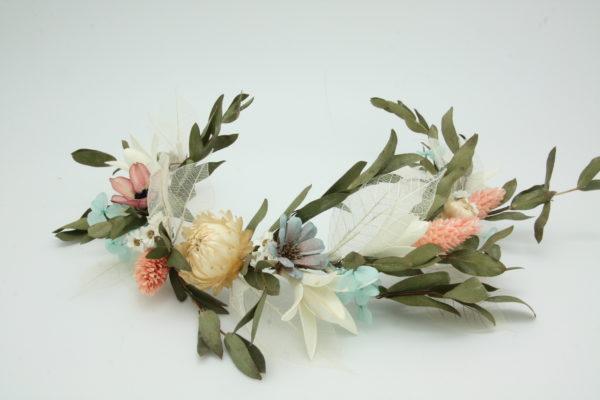 T1088小清新風格美麗小綠葉與橘花新娘乾燥花飾品永生花花環