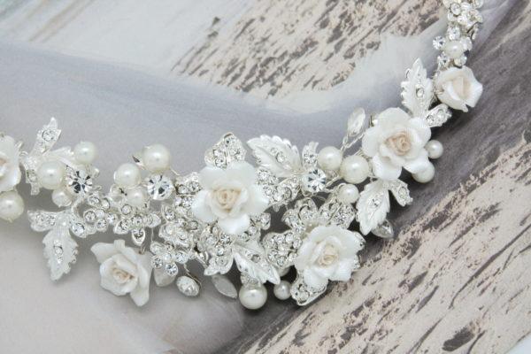 ZE9陶瓷五瓣花質感優美新娘頭飾/宴會髮飾