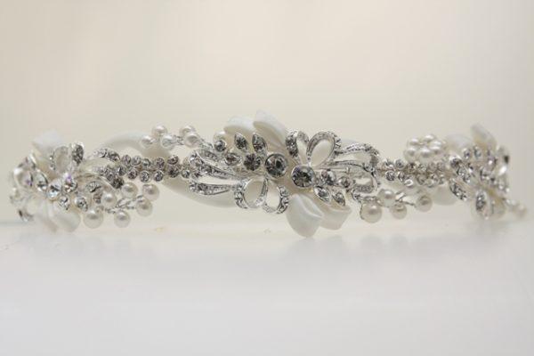 ZE9銀色流線型優雅神秘新娘飾品/宴會飾品