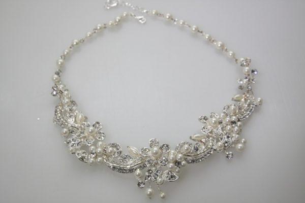 ZNK手工鑽飾葉片珍珠項鍊耳環組/新娘項鍊耳環/華麗珍珠項鍊