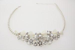 ZNL紗網白色蝴蝶結珍珠項鍊耳環組/華麗珍珠項鍊