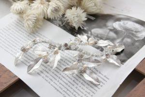 ZR55寫實葉片珍珠裝飾典雅新娘頭飾/女神系頭飾