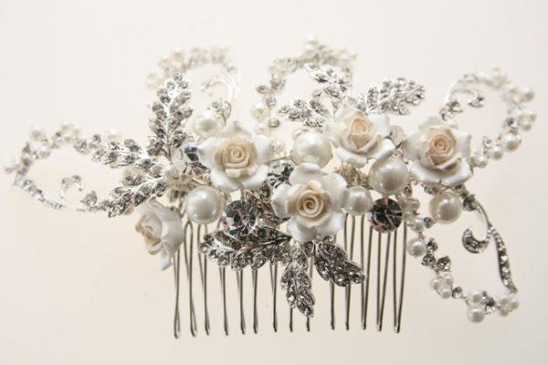 ZR8高級精美陶瓷玫瑰新娘髮叉飾品/精緻飾品