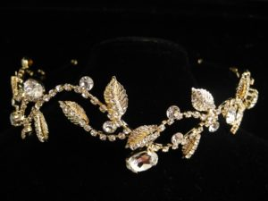 ZT方型鑽爪鑲鑽葉金色新娘飾品/宴會手工冠-購買請洽客服