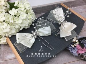 IT197緞面硬砂材質搭配 鑽花造型新娘髮叉OR髮夾/一個