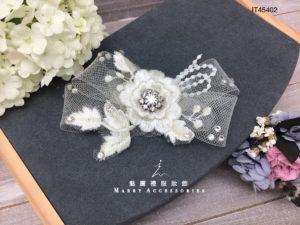 IT454硬紗網立體花新娘髮飾