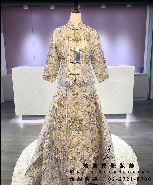 M160系列經典高貴優美細緻水藍綉禾服-媽媽禮服-晚宴禮服-新娘晚禮服-綉和服