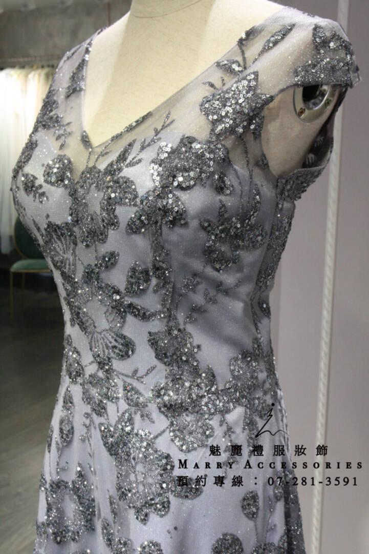 KO-0198系列V領優雅藍灰前短後長媽媽禮服-晚宴禮服-新娘晚禮服