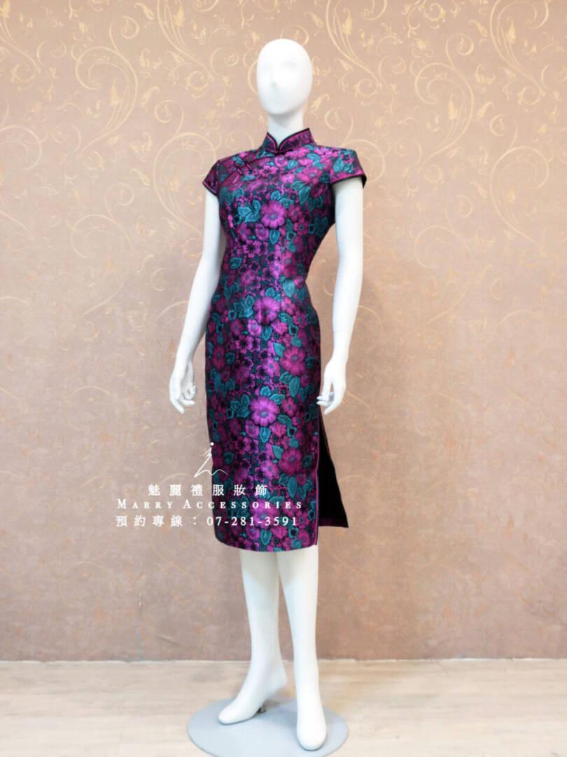 KO-0170系列桃紅綠葉立體襯托媽媽禮服-晚宴禮服-新娘晚禮服-短旗袍