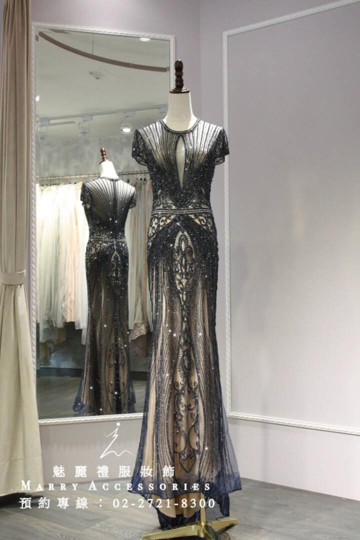 M1系列時尚高雅透膚魚尾禮服-媽媽禮服-晚宴禮服-新娘晚禮服