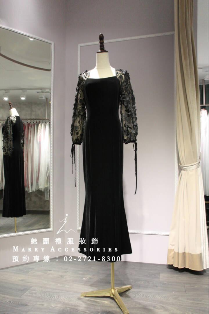 M10系列方形領立體玫瑰長袖高貴黑禮服-媽媽禮服-晚宴禮服-新娘晚禮服