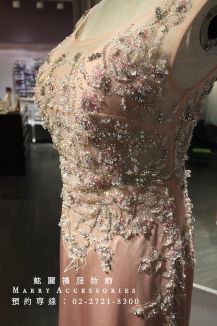 M100系列立體珠工柔美粉色禮服-媽媽禮服-晚宴禮服-新娘晚禮服