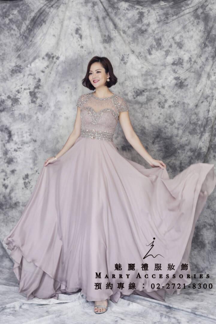 M101系列藕色雪紡高貴珠工禮服-媽媽禮服-晚宴禮服-新娘晚禮服