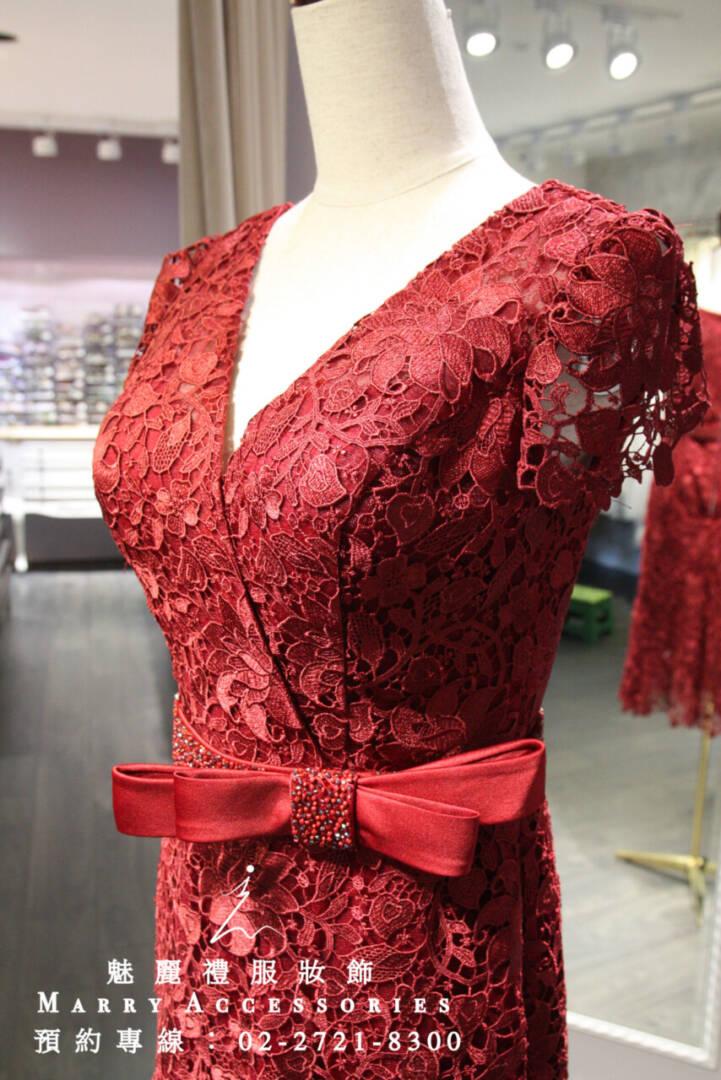 M102系列蝴蝶蕾絲袖蕾絲裙襬質感露腳禮服-媽媽禮服-晚宴禮服-新娘晚禮服