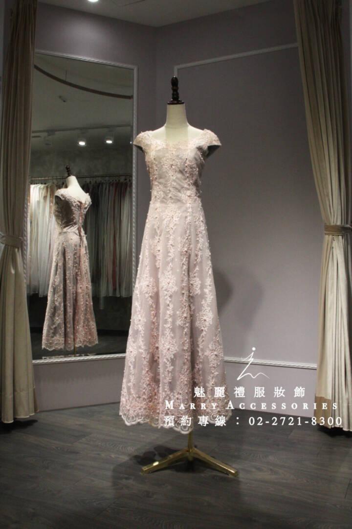 M108系列粉色立體刺繡A字優美禮服-媽媽禮服-晚宴禮服-新娘晚禮服