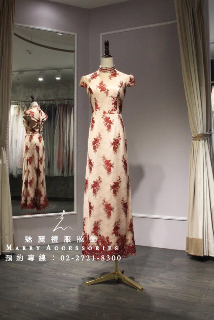 M109系列紅色刺繡立領貴氣禮服-媽媽禮服-晚宴禮服-新娘晚禮服