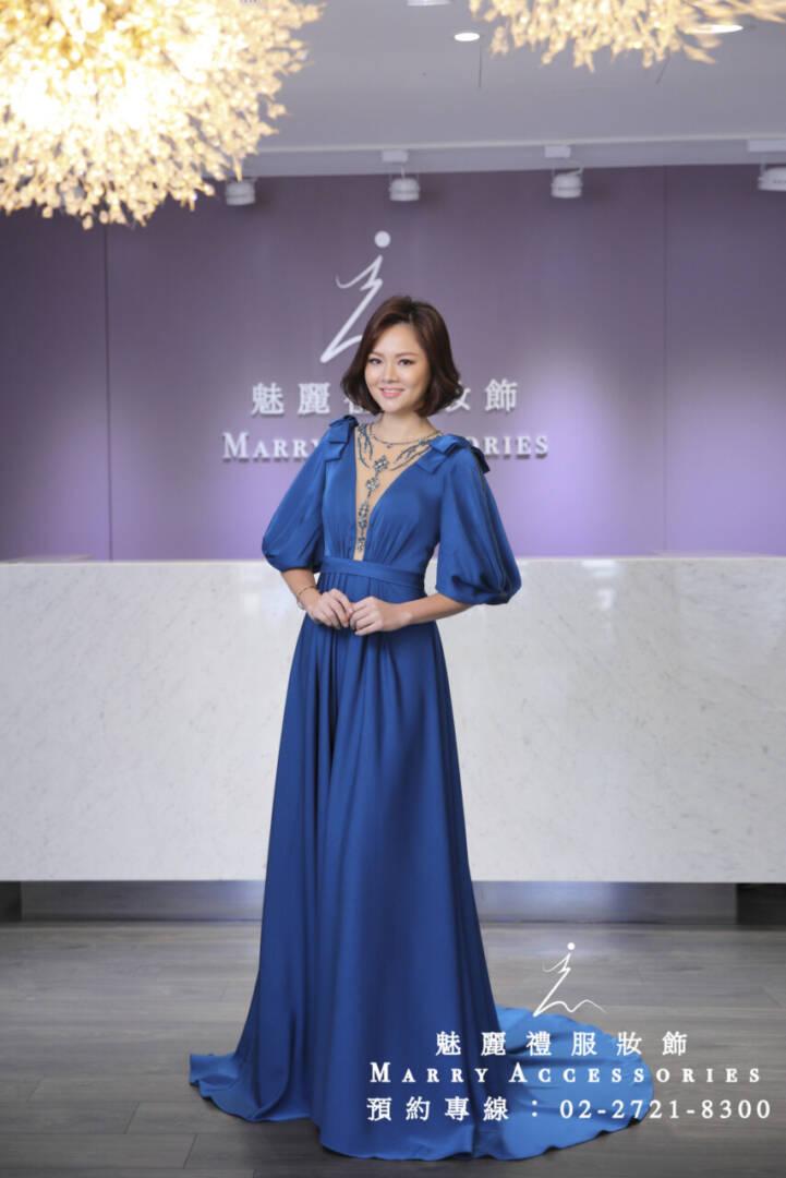 M118系列5分袖緞面氣質媽媽禮服-晚宴禮服-新娘晚禮服