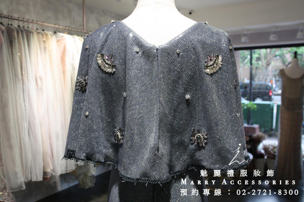 M120系列亮片斗蓬高貴典雅修身禮服-媽媽禮服-晚宴禮服-新娘晚禮服