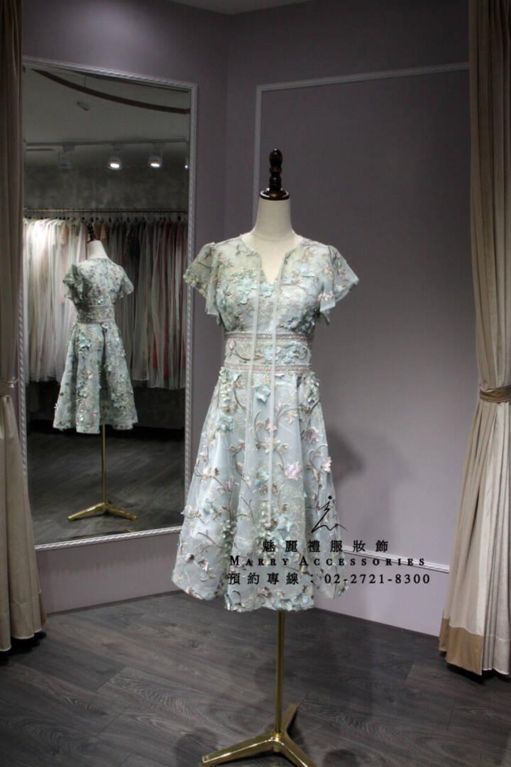 M124系列蒂芬妮綠刺繡紗面短款禮服-媽媽禮服-晚宴禮服-新娘晚禮服