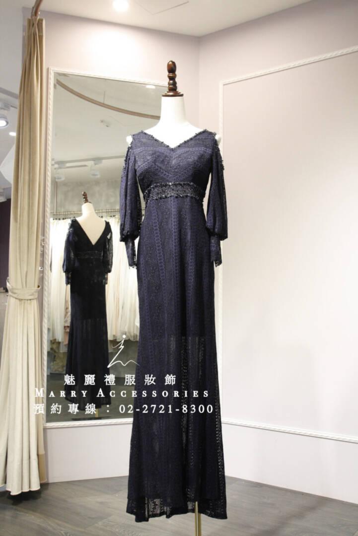 M125系列露肩小性感長袖合身禮服-媽媽禮服-晚宴禮服-新娘晚禮服