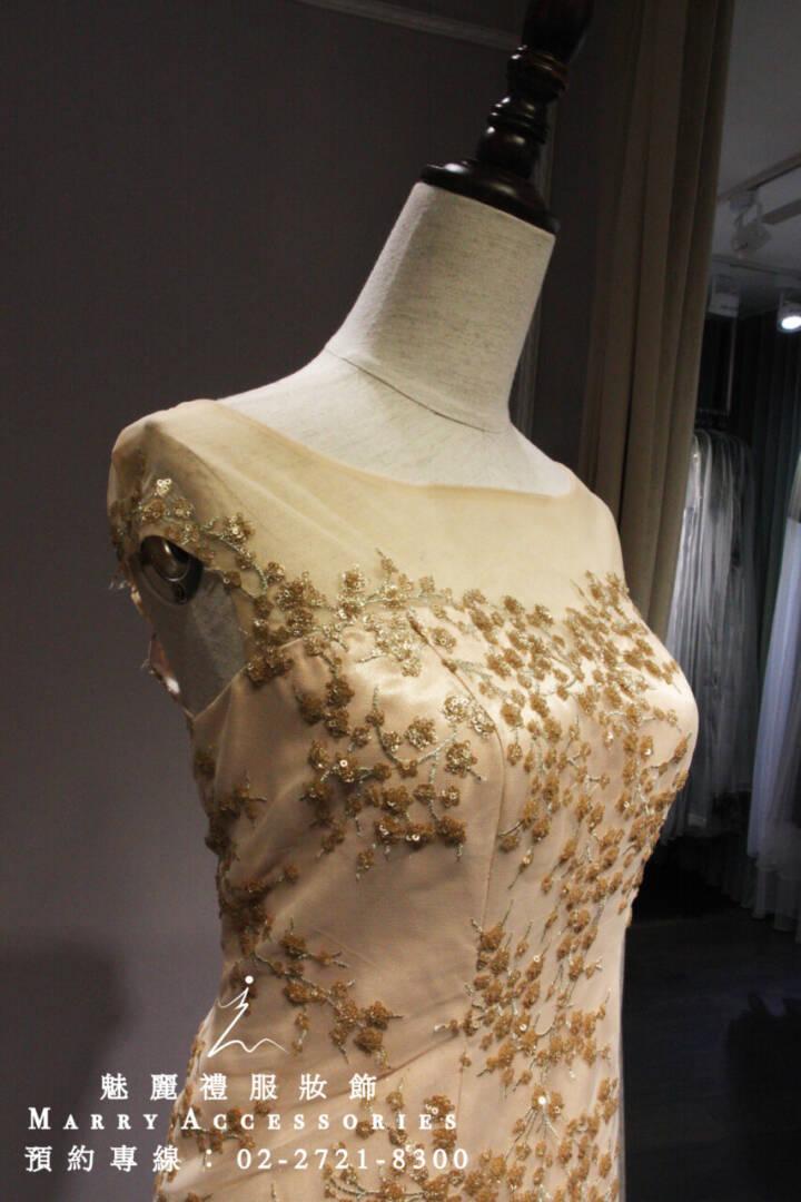 M127系列貴氣低調奢華窄身金禮服-媽媽禮服-晚宴禮服-新娘晚禮服