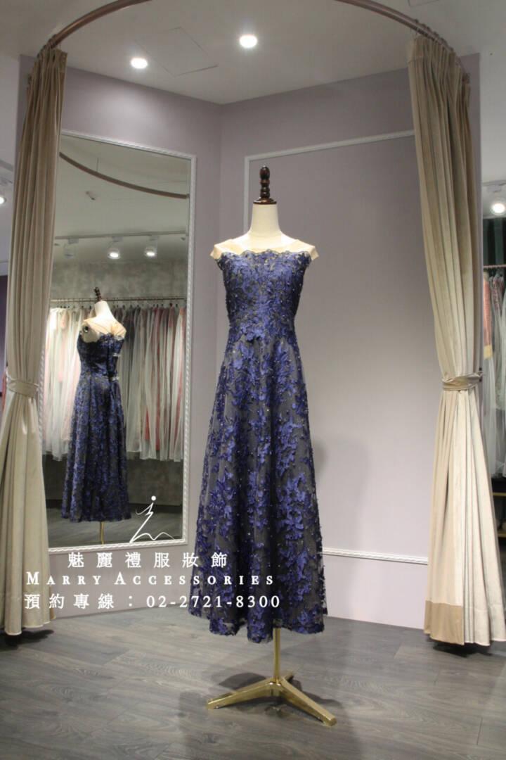 M128系列藍色立體刺繡顯瘦及地禮服-媽媽禮服-晚宴禮服-新娘晚禮服