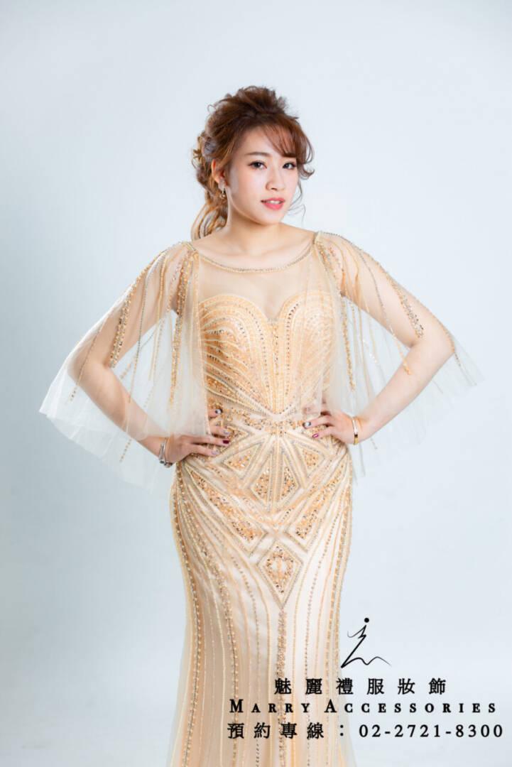 M13系列金色完美修身包臀魚尾禮服-媽媽禮服-晚宴禮服-新娘晚禮服
