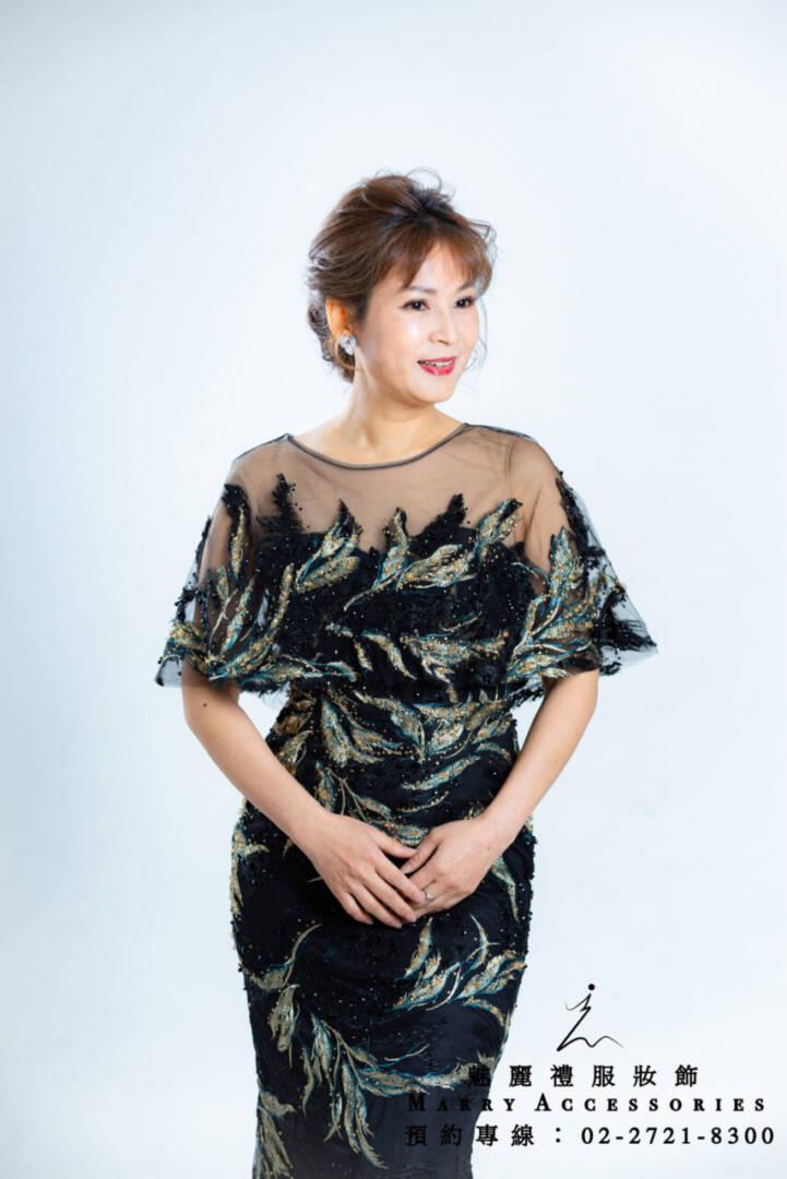 M136系列羽毛超美貼身長禮服-媽媽禮服-晚宴禮服-新娘晚禮服