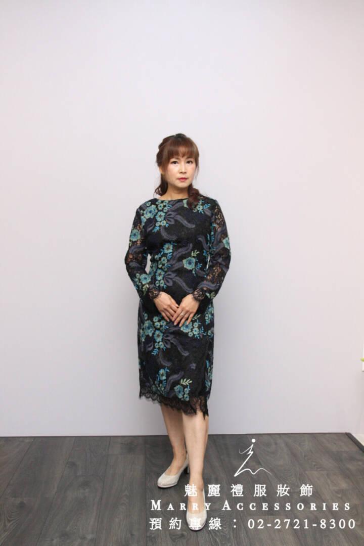 M148系列藍花朵細節超美長袖短款禮服-媽媽禮服-晚宴禮服-小禮服-新娘晚禮服