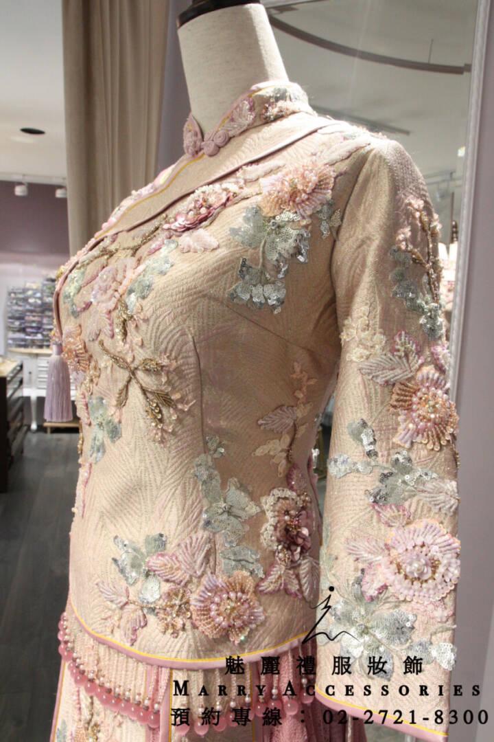M158系列粉色古風高貴優美綉禾服-新娘禮服-媽媽禮服-晚宴禮服-新娘晚禮服-綉和服