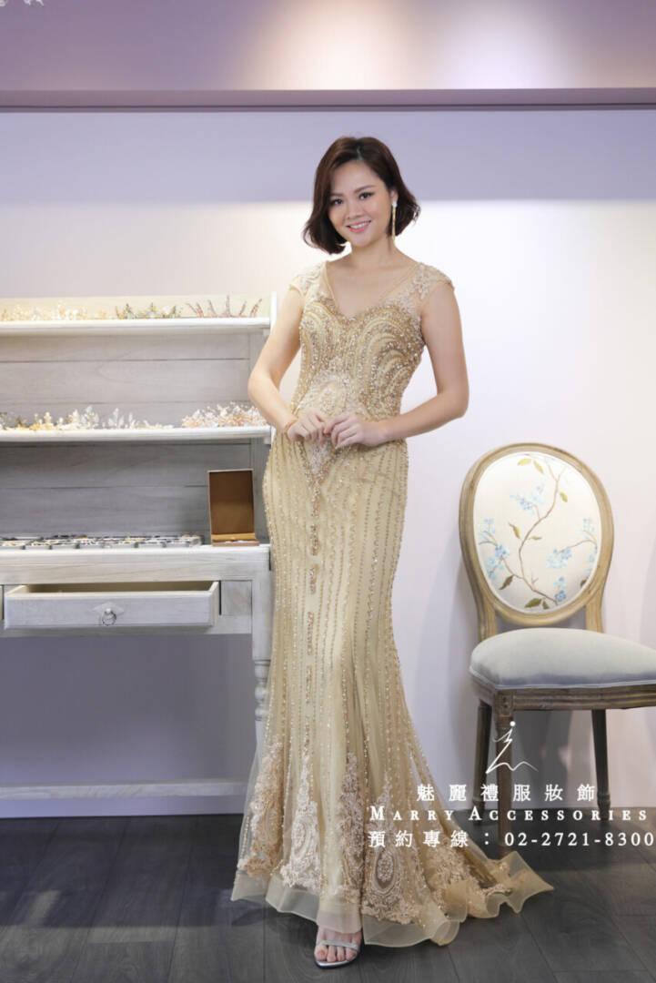 M16系列歐式小V古典魚尾金色禮服-媽媽禮服-晚宴禮服-新娘晚禮服
