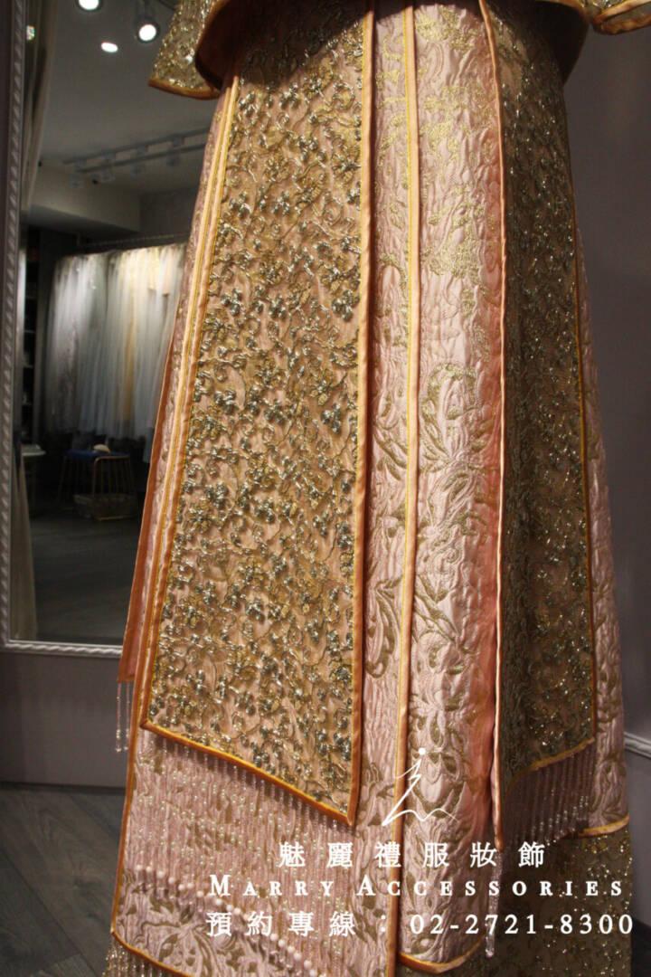 M163系列超美細緻珠飾繡禾服-媽媽禮服-晚宴禮服-新娘晚禮服-綉禾服