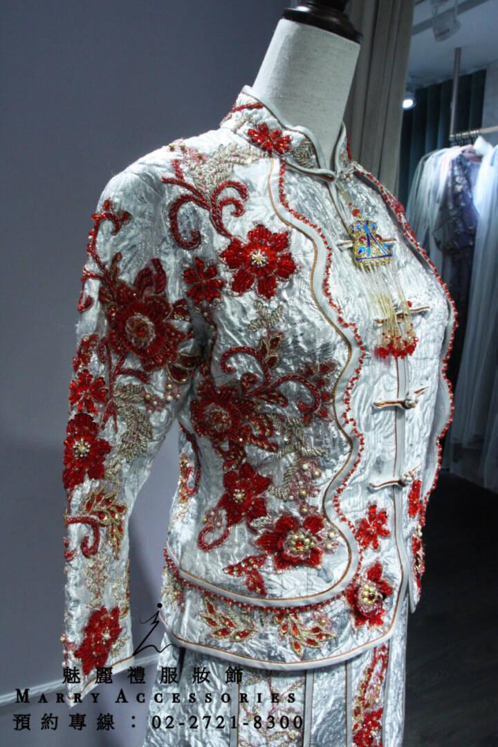 M165系列銀紅搭配華貴風格繡禾服-古風禮服-媽媽禮服-晚宴禮服-新娘晚禮服-綉禾服