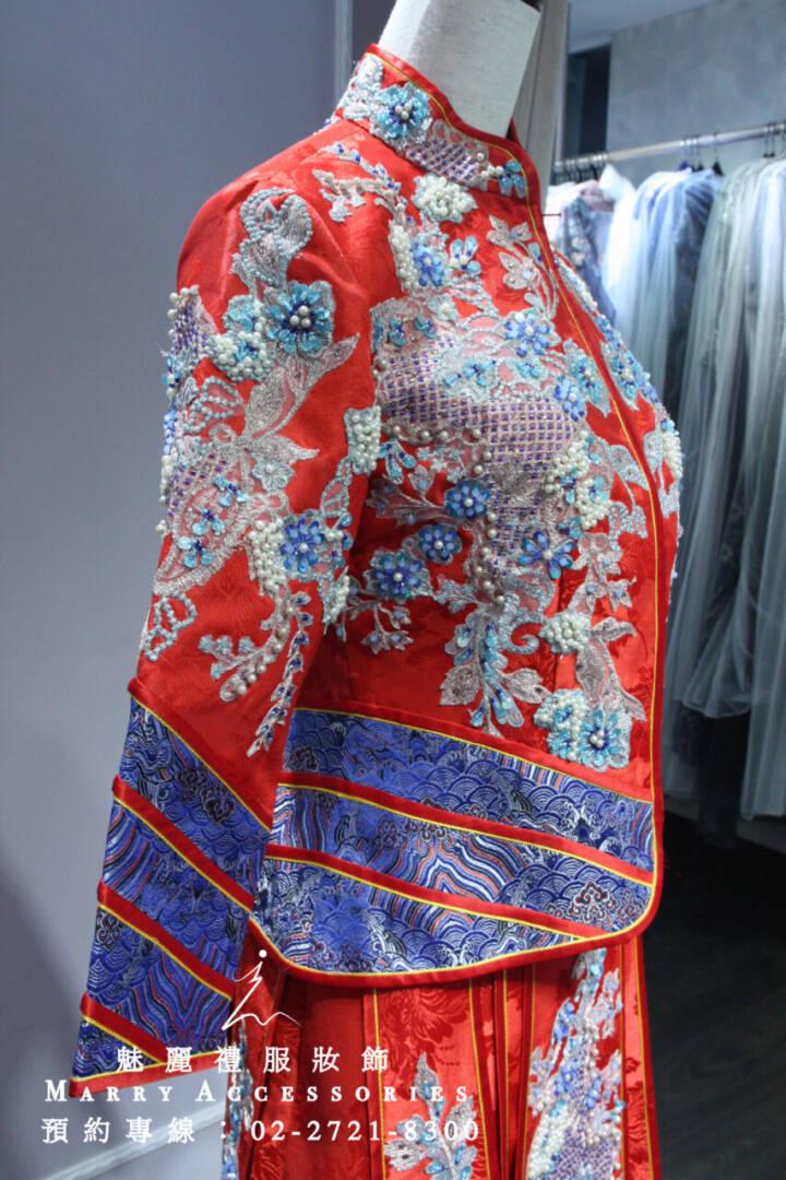 M167系列紅藍精典搭配華貴新娘古風禮服-晚宴禮服-新娘晚禮服-綉和服