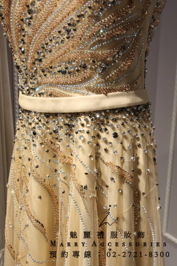 M17系列金色流線感禮服-媽媽禮服-晚宴禮服-新娘晚禮服