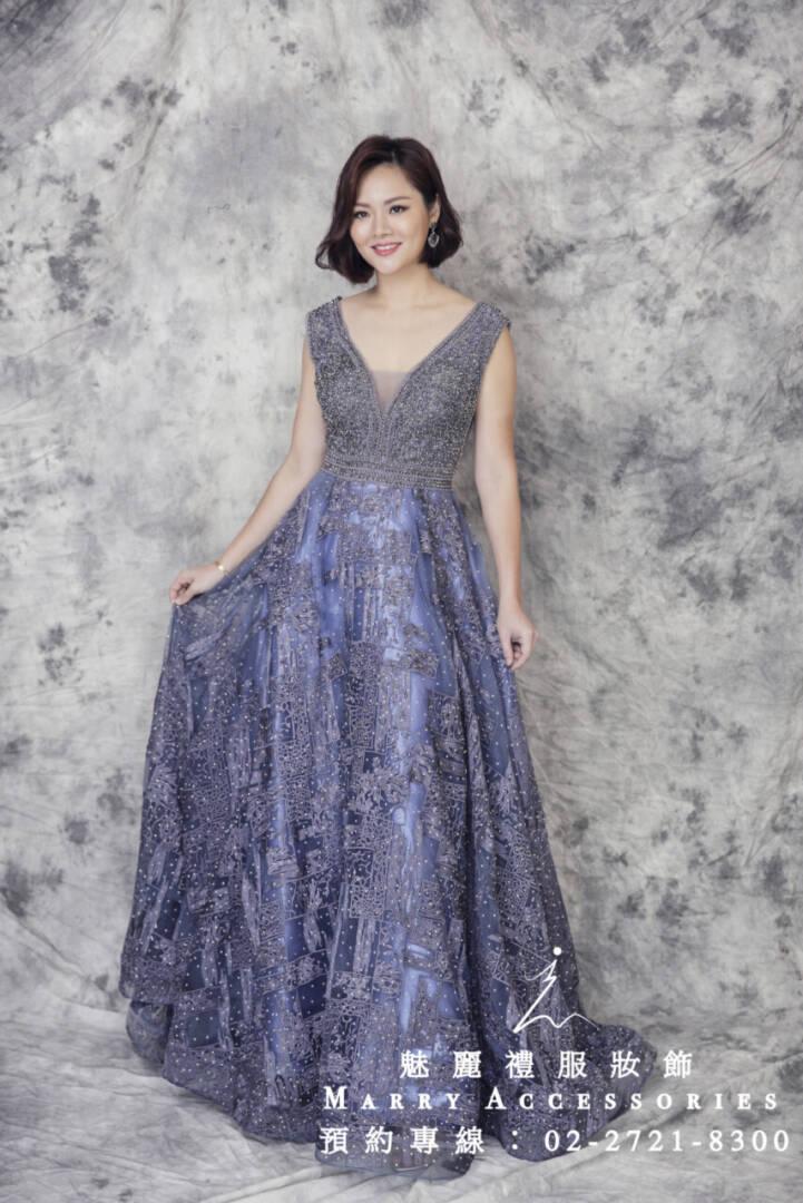 M18系列紫色A字大裙襬華美禮服-媽媽禮服-晚宴禮服-新娘晚禮服